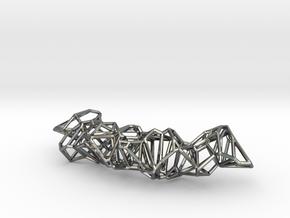 Voronoi Construction Framework Pendent in Fine Detail Polished Silver