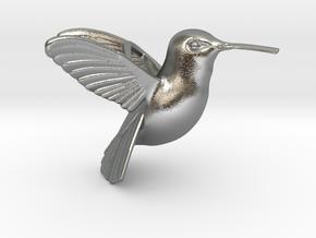 Hummingbird Pendant in Natural Silver