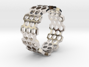 Honeycomb fashion Ring Size 12 in Rhodium Plated Brass