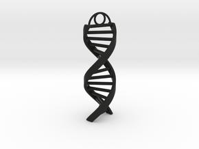 DNA Keychain in Black Natural Versatile Plastic