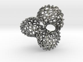 Scherk 7 Voronoi Mesh Pendant - 36mm in Fine Detail Polished Silver
