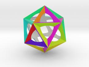 0300 Icosohedron (E&full color, 5 cm)  in Full Color Sandstone