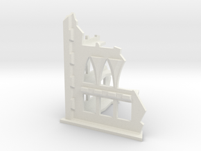 10mm Scale Gothic Corner Ruin in White Natural Versatile Plastic