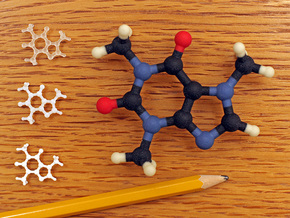 Caffeine molecule model in Full Color Sandstone: 1:10