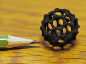 Buckyball C60 Molecule Model. 3 Sizes. in Black Strong & Flexible: Small
