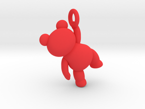 Teddy Bear Pendant - Small - ring in Red Processed Versatile Plastic