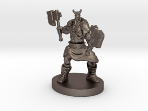 Orc Warrior Figurine in Polished Bronzed Silver Steel
