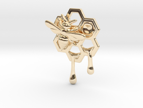 Honey Comb Charm Version 2 in 14k Gold Plated Brass