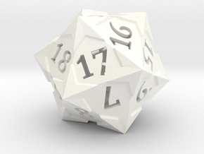 'Starry' D20 Spindown Life Counter Die in White Processed Versatile Plastic