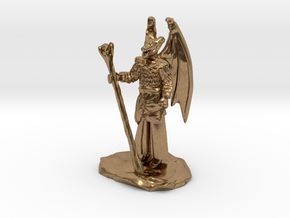 Winged Dragonborn Druid in Robes with Staff in Natural Brass