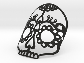 Wearable Halloween or Day of the Dead Skull Mask in Black Natural Versatile Plastic