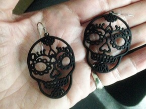 Day of the Dead Skull Earrings in Black Natural Versatile Plastic