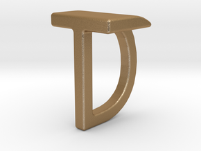 Two way letter pendant - DT TD in Matte Gold Steel