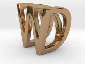 Two way letter pendant - DW WD in Polished Brass