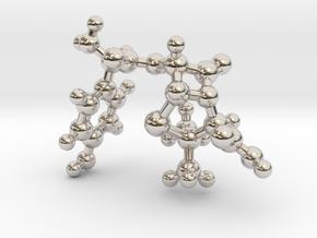 amoxicillin_ball_stick in Rhodium Plated Brass