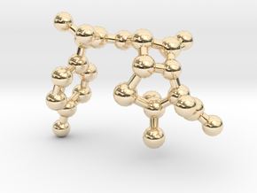 amoxicillin_ball_stick_nonH in 14k Gold Plated Brass