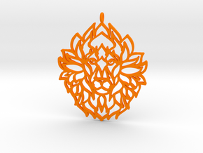 Lion Pendant in Orange Processed Versatile Plastic