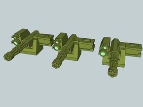 15mm Remote Gatling Gun (x3) in Smooth Fine Detail Plastic