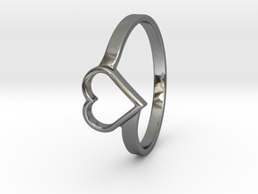 Heart Ring in Fine Detail Polished Silver