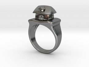 Cute House Ring in Fine Detail Polished Silver