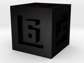 Bordered Dice 6 Sided in Matte Black Steel