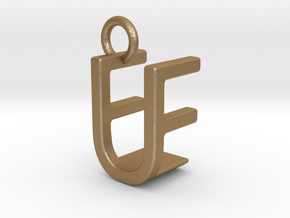 Two way letter pendant - EU UE in Matte Gold Steel