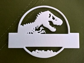 Jurassic World Nametag Top-Plate in White Processed Versatile Plastic