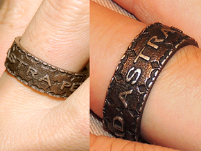 Per aspera ad astra Ring Size 11.5 in Polished Bronze Steel