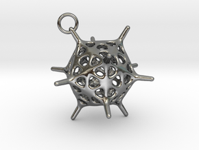 Adenovirus Pendant in Polished Silver