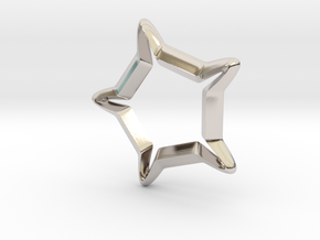 Star In A Star Sci-fi Smooth in Rhodium Plated Brass