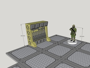 15mm-Scale Arms Rack/Locker in White Acrylic