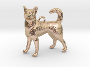 Standing Husky Necklace in 14k Rose Gold Plated Brass