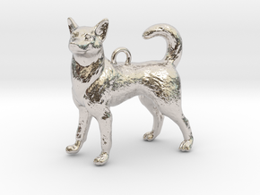 Standing Husky Necklace in Rhodium Plated Brass