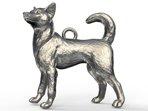 Standing Husky Necklace in Polished Bronzed Silver Steel