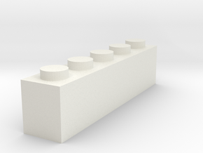 1x5 Brick in White Natural Versatile Plastic
