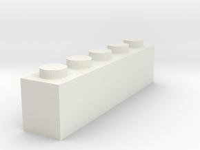 1x5 Brick in White Natural Versatile Plastic