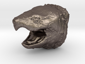 Alligator Snapping Turtle Head  in Polished Bronzed Silver Steel