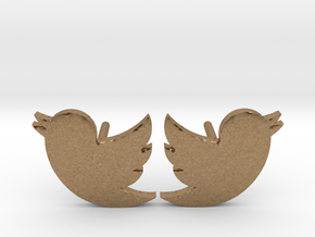 Twitter Studs in Natural Brass