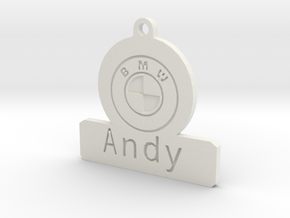 Car Keyring Andy in White Natural Versatile Plastic