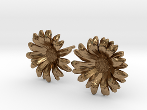 Daisy Studs in Natural Brass