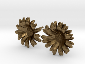 Daisy Studs in Natural Bronze