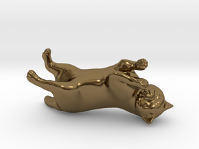 Rolling Exotic Shorthair Cat in Polished Bronze