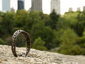 Radici Bracelet, Open, L 68 mm in Matte Bronze Steel
