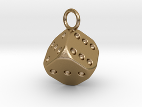 Dice Keychain in Polished Gold Steel