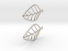 Leaf Earrings in Rhodium Plated Brass