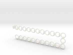 2x10 mm Chain with Coupler in White Processed Versatile Plastic