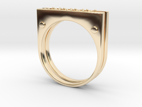 Plate Ring Men Stl in 14k Gold Plated Brass