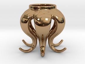 Octopus tea light in Polished Brass