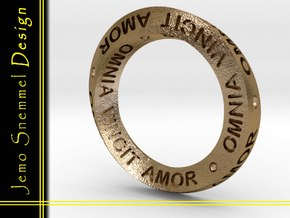 Mobius OMNIA VINCIT AMOR in Polished Gold Steel