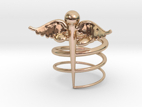 Caduceus Ring (size 9) in 14k Rose Gold Plated Brass